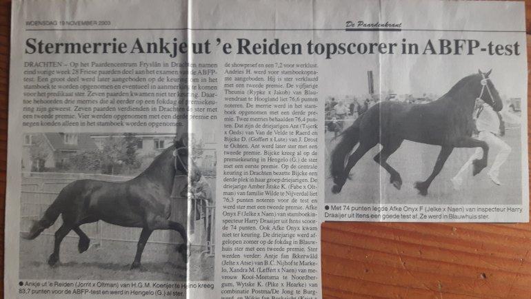Stukje gevonden in een oude krant van 2003